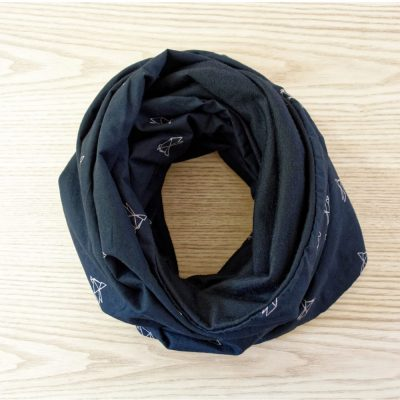 Merino wool black scarf snood Lady Harberton