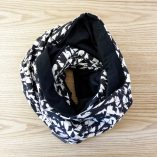 Merino wool black and white scarf snood Lady Harberton