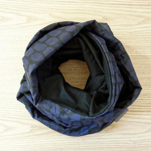 Merino wool black and blue scarf snood Lady Harberton