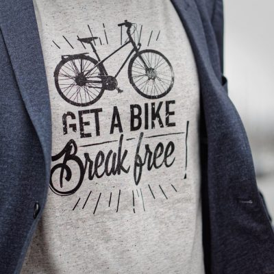 Cycling quote t-shirt for men get a bike get a bike break free Lady Harberton