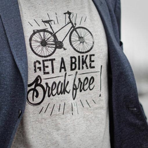 Cycling quote t-shirt for men get a bike get a bike break free Lady Harberton