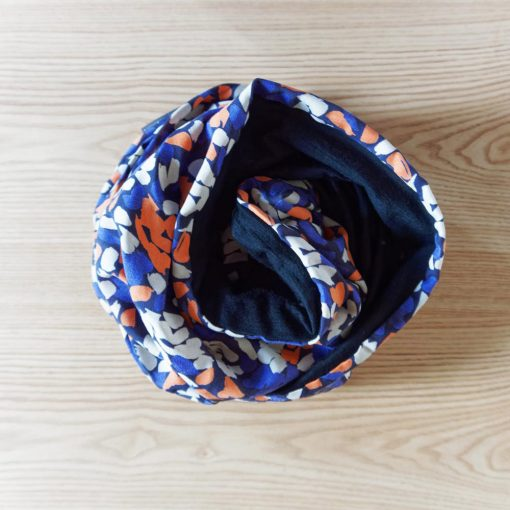 Merino wool blue, orange and white scarf