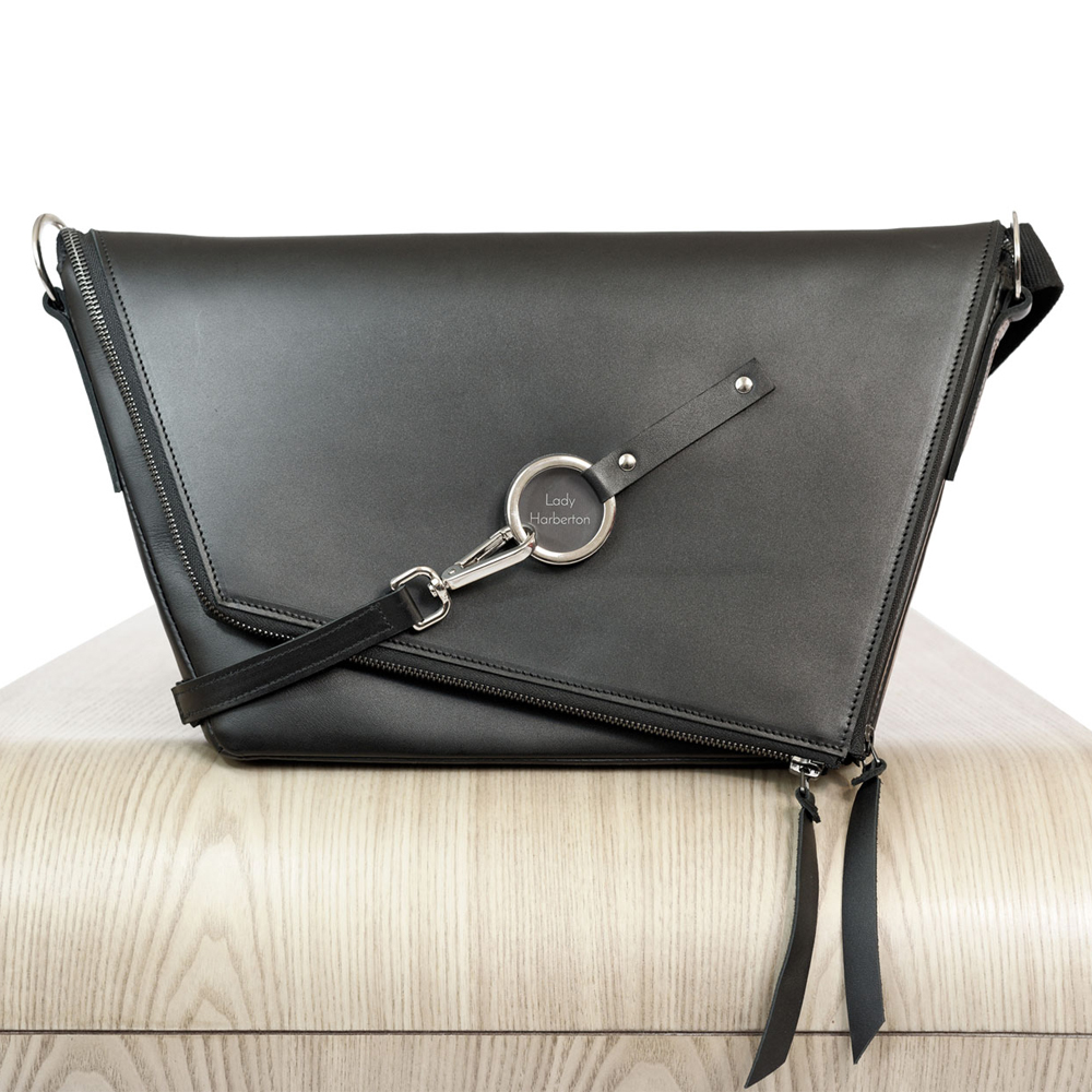 f16eb2fe68 Buy the black leather satchel Le Messenger | Lady Harberton