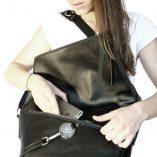 black leather satchel Le Messenger Lady Harberton
