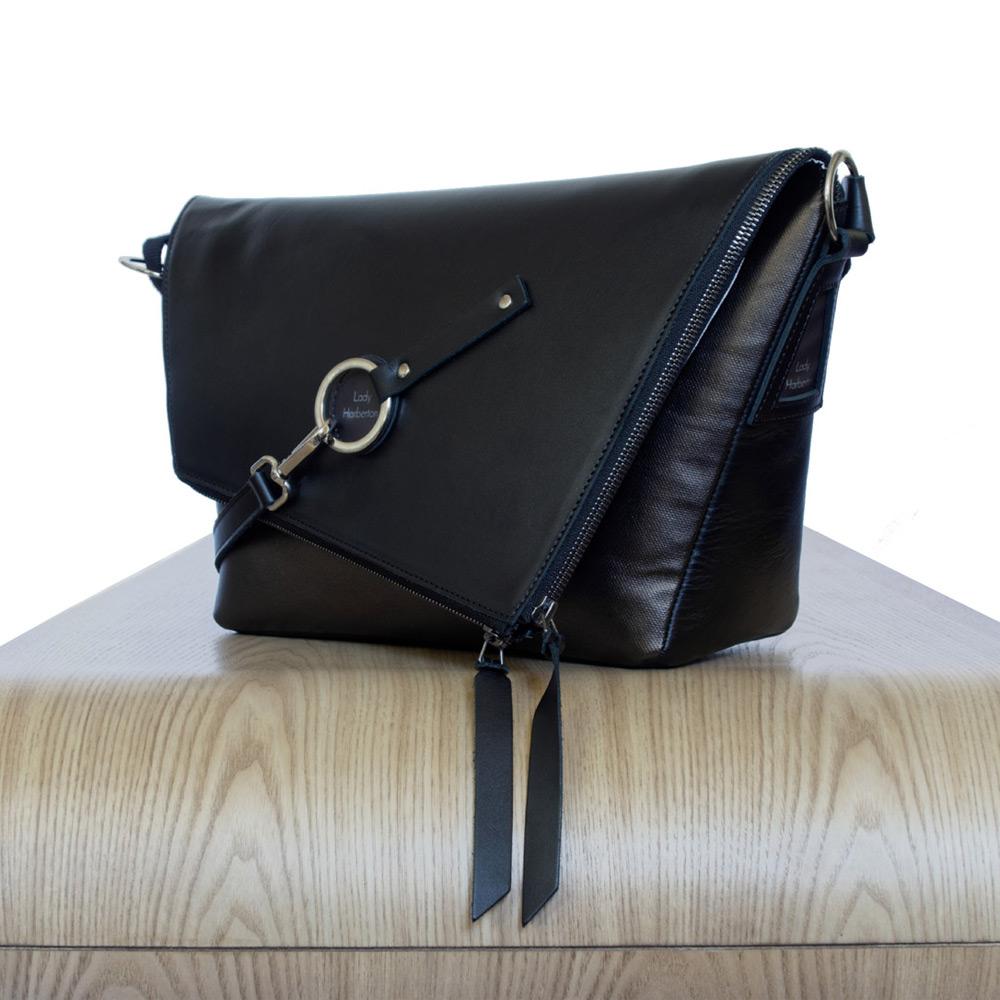 Black And Bronze Leather Satchel Le Messenger Lady Harberto