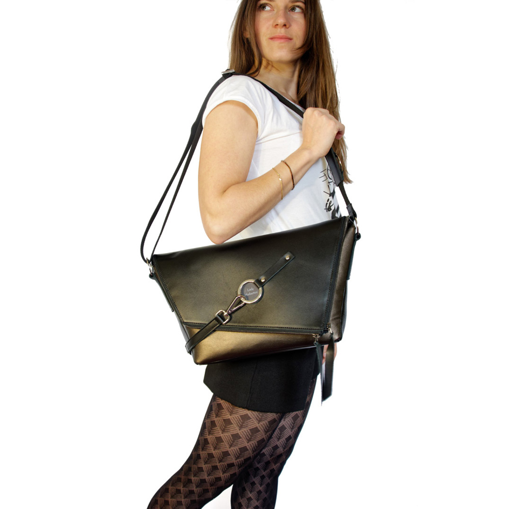 c9f26e054d Buy the black and bronze leather satchel Le Messenger | Lady Harberton