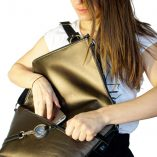 black and bronze leather satchel Le Messenger Lady Harberto