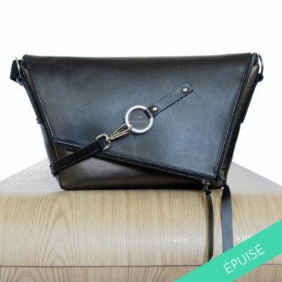 Sac-cuir-noir-bronze-Le-Messenger-Lady-Harberton-Vue-face-epuise