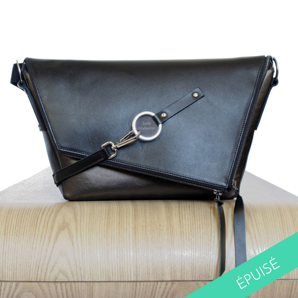 8a14bae51dc6 Buy the black and bronze leather satchel Le Messenger