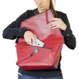 Burgundy leather satchel Le Messenger bag Lady Harberton phone