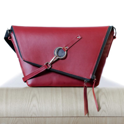 Burgundy leather satchel Le Messenger bag Lady Harberton front view