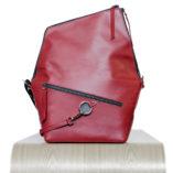 Burgundy leather satchel Le Messenger bag Lady Harberton front view unfolded