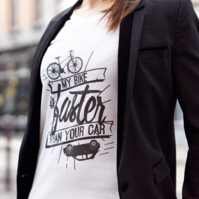Cycling quote t-shirt for women get a bike my bike is faster than your car Lady Harberton