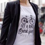 Cycling quote t-shirt for women get a bike break free Lady Harberton