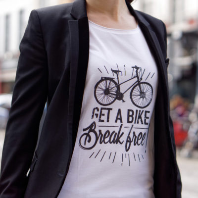 Cycling quote t-shirt for women get a bike break free Lady Harberton