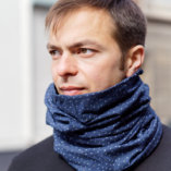 merino wool men blue snood scarf Lady Harberton men