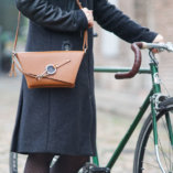 The Camel leather Clutch bag Lady Harberton shoulder