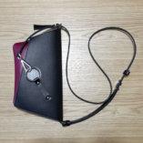 Black & Burgundy leather Clutch bag Lady Harberton front