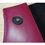 Black & Burgundy leather Clutch bag Lady Harberton zoom