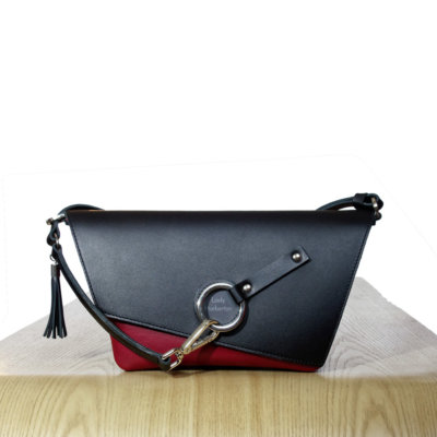Black & Burgundy leather Clutch bag Lady Harberton