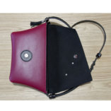 Black & Burgundy leather Clutch bag Lady Harberton opened