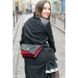 Black & Burgundy leather Clutch bag Lady Harberton bicycle