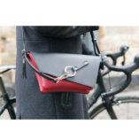 Black & Burgundy leather Clutch bag Lady Harberton shoulder