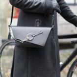 Black leather Clutch bag Lady Harberton shoulder