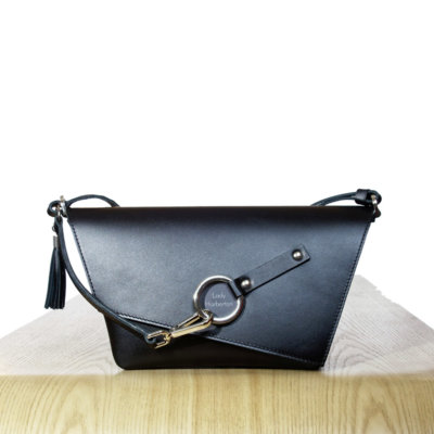 Black leather Clutch bag Lady Harberton front