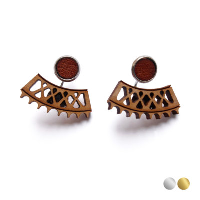 silver wood ear jackets earrings Lady Harberton Bewood